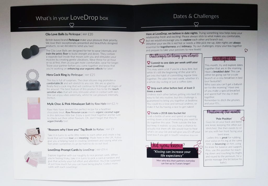 An image of the LoveDrop box booklet opened up. Showing the product images and RRPs as well as challenges and date night ideas.