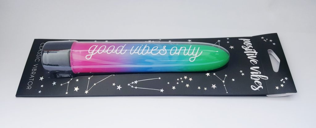 Photo of the Lovehoney Positive Vibes Classic Vibrator Packaging. A black cardboard sleeve with star constellation images on it.
