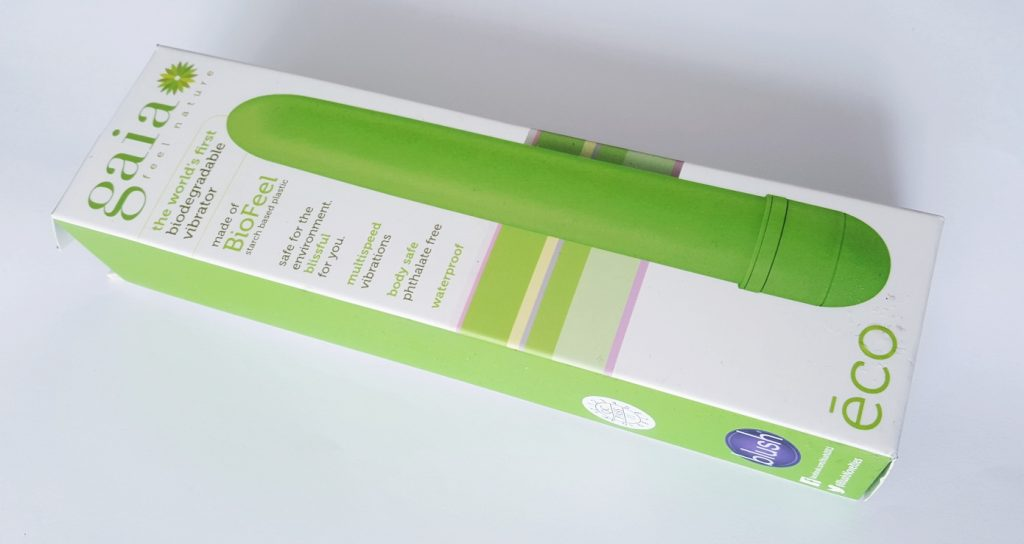Photo of Gaia Eco Biodegradable Vibrator Packaging. A rectangular cardboard box with image of the Gaia on front.