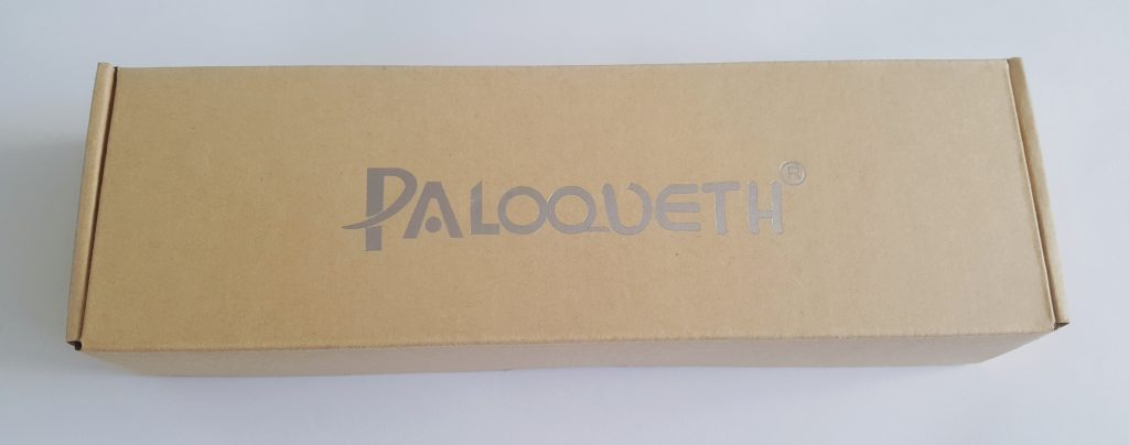 Photo of the Paloqueth G Spot Vibrator Packaging. A rectangular, thick cardboard box with 'Paloqueth' written on the top.