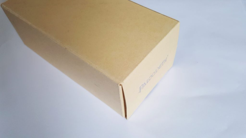 Photo of the Paloqueth Dual Density Dildo Packaging. A plain cardboard rectangular box.