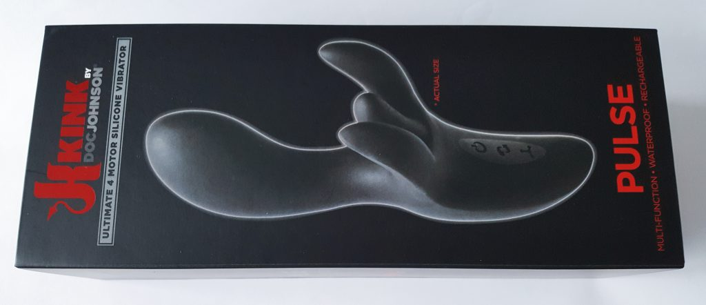 Image of the Doc Johnson Kink Pulse Ultimate 4 Motor Vibrator Packaging. A rectangular black cardboard box with life-size image of vibrator on front.