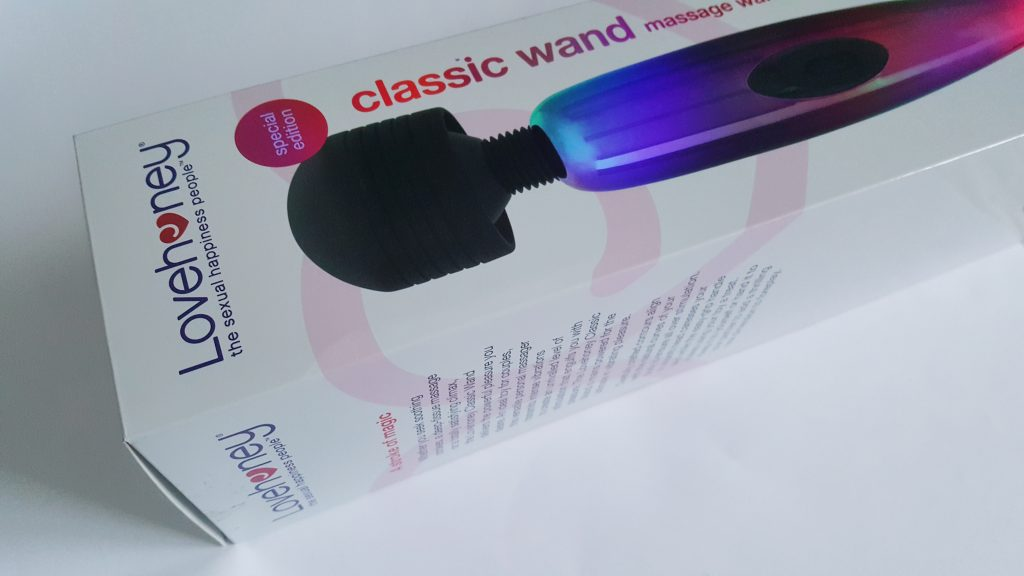 Photo of the Lovehoney Classic Metallic Magic Wand Packaging. A large rectangular box photographed at an angle.