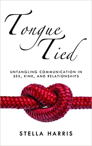 Stock image of the front over of tongue tied by stella harris. A white book with a red knot in a heart shape.