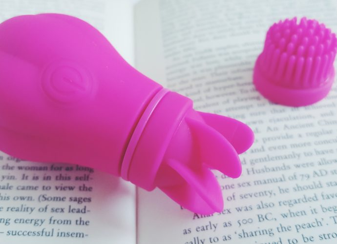 Feature photo for the Adrien Lastic Caress Review. The toy and one attachment on top of an open book.