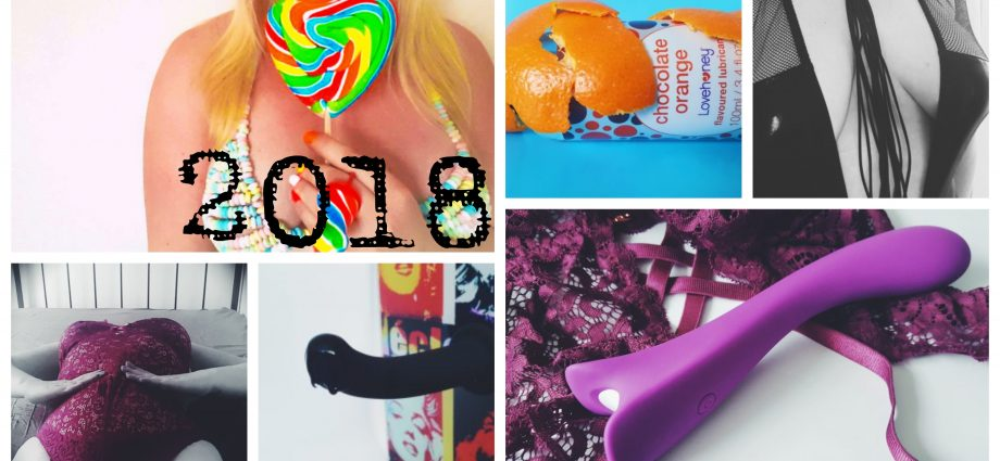Feature photo for Resolutions, Stats & 2018 Ramblings. A collage of different photos taken over the year, including images of me and of sex toys.